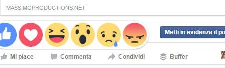 Nuovi tasti 'Mi piace' di Facebook