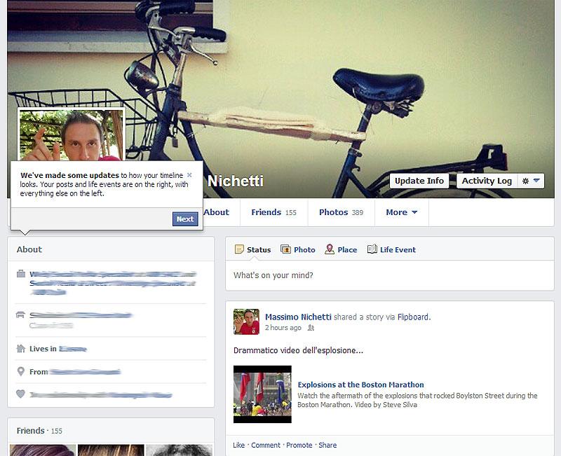 Attivo il nuovo profilo personale di facebook